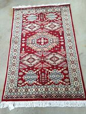 3x5 Hand knotted Caucasian Bokhara/Red Medallion 100% wool Pile /Cotton Base