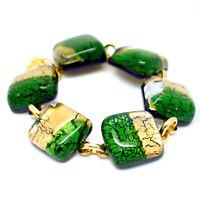 Murano Glass Bracelet Gold Green Millefiori Handmade from Venice