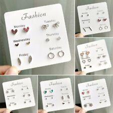 6 Pairs Heart Crystal Feather Silver Earrings Set Women Ear Stud Week Jewelry