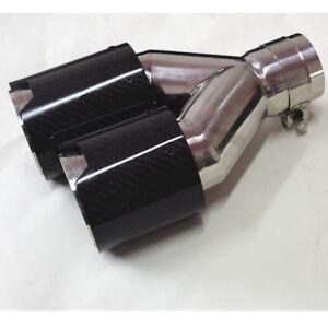 Dual Exhaust Tip Muffler Pipe Trim 63mm Glossy 100% Carbon Fiber Universal Right