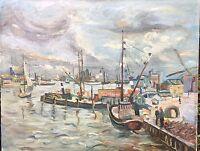 Ölgemälde Hafen Norddeutsch oder HoIland Impressionist  unsigniert aber charmant