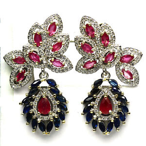 NATURAL RED PINK RUBY, SAPPHIRE & CZ EARRINGS 925 STERLING SILVER