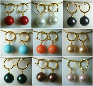 14mm Multi-color Shell Pearl Round Beads Dangle Gold Leverback Earrings PE228