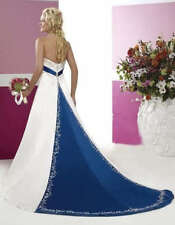 New  Embroidery White And Blue Wedding Dress Bridal Gowns Custom Size 6 -18