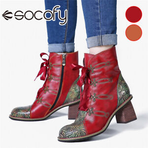 SOCOFY Women Retro Rose Print Ankle Boots Ribbon Lace Up High Heel Shoes Zippe