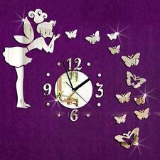 Modern Butterfly Fairy Clock DIY 3D Art Mirror Wall Sticker Kids Room Home De WA
