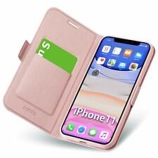 iPhone 11 Leather Wallet Case Card Slot Magnetic Closure Cover Flip Rose Gold