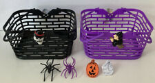 Halloween Bruja púrpura dulces cesta & 2 anillos de plástico (Ghost & Calabaza)