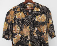Caribbean Joe Large Aloha Shirt Hawaiian Floral Tropical Camp Black Yellow