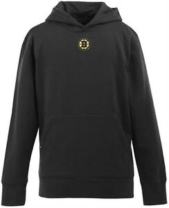 NEW Boston Bruins YOUTH Boys Signature Hooded Sweatshirt - Black - Kids Medium