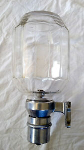 Antique Vintage Glass Nickel Plated Metal Industrial Wall Mount Soap Dispenser