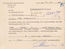 Paris 1942 deutsche Eisenbahnbetriebsdirektion Zurückbeorderung wg. Austausch