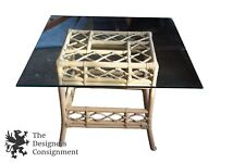 Vintage Bamboo Base Glass Top Breakfast Table Rattan Wicker Dining McGuire Style