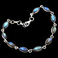 08df54ca7 Natural Labradorite Gemstone 925 Sterling Silver Jewelry Statement Bracelet  7.5