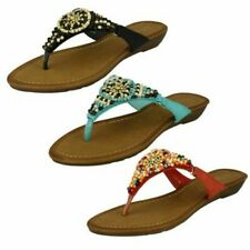 Ladies Savannah Beaded Toe Post Sandals
