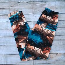 Blue Brown Tan Abstract Design Women's Leggings OS One Size 2-12 Soft as LLR