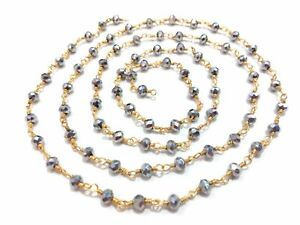 3 Feet Silver Pyrite 3-4mm Rondelle Rosary Beaded Chain 24k Gold Plated Wire