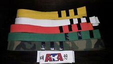 Karate Belts Lot of 6 White, Yellow, Orange, Green, Camo, Ata Martial Arts