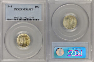 """1941 PCGS MS65FB SILVER MERCURY """"WINGED LIBERTY HEAD"""" DIME ! GREAT HIGHER GRADE!"""