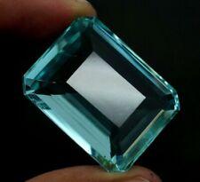 EGL Certified Natural Blue Apatite Birthstone 82.10 Ct Emerald  Shape Gemstone