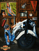 Curious Kids Find Harley Davidson Motorcycle Metal Sign
