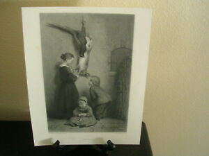 KIDS IN COTTAGE POKE at Dinner Dead RABBIT GAME BIRD ~ 1872 Art Print Engraving