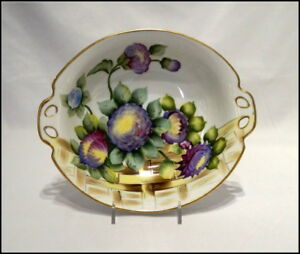 Noritake Art Deco 2 Handle Bowl with Floral Design and Gold Trim N379