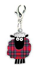 Red Tartan Scottish Cartoon Sheep Clip On Charm Gift Bracelet Necklace