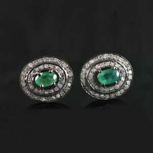 925 Sterling Silver Natural Emerald Gemstone & Pave Diamond Stud Earring Jewelry