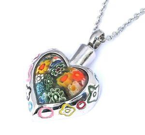 "Cremation Ashes Jewellery Keepsake Necklace Urn ""Rainbow Heart"""
