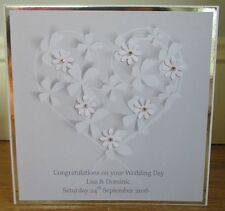 Personalised Handmade White Flower Heart Wedding Day Congratulations Card
