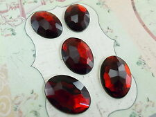 5 pcs Dark Red  Color Acrylic Flat-Back Oval Shaped 18x25 mm Stone No Hole-New