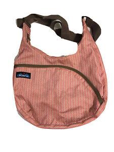Kavu Coral Blue Stripe Crossbody Messenger Shoulder Bag 12x10x2 Adjustable Strap