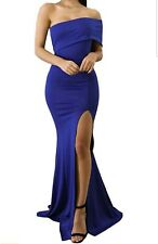 Womens Off-Shoulder Thigh-Slit Mermaid Gown Dress Cocktail Party Sexy Blue S