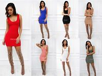 New Womens Ladies Glam Sleeveless Scoop Neck Mini Bodycon Party Cocktail Dress