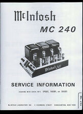 Rare Nice Copy* McIntosh MC 240 Power Amp Amplifier Service Manual