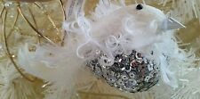 "NWT CELEBRATE IT SILVER SEQUINS & WHITE CURLY FEATHER BIRD ORNAMENT 5"" LONG"