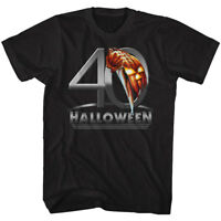 Halloween 40 Yrs Pumpkin & Michael Meyers Knife Adult T Shirt Great Scary Movie
