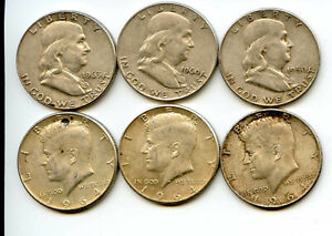 Old Silver Coin Set. 3 Franklin and 3 Kennedy Half Dollars. Circulated. Lot #52