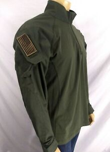 5.11 Tactical Military Army Shirt Dark Green Shoulder Flags Poly Cotton LS Mens