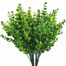 Faux Plastic Eucalyptus Leaves Hogado Artificial Shrubs 4 Pieces Flexible Stems