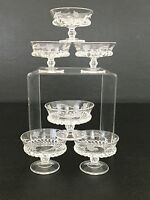 6 Antique clear pressed glass custard / dessert cups 1880's 1890's