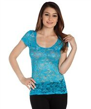 NEW! KTOO Very SEXY & SHEER Blue Lace CLUBWEAR Top ~ Juniors M / Bust to 30""