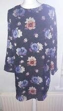 Black and Blue Floral Smock Dress by Topshop size 12