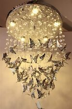 Modern Chrome Butterfly Crystal Chandelier LED Pendant Lamp Ceiling Lighting P90