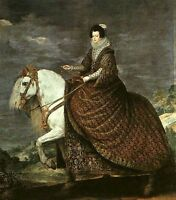 Art oil painting horsewoman queen isabel of bourbon equestrian in landscape 36""
