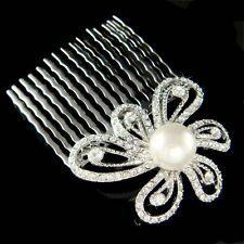 w Swarovski Crystal Pearl Flower Floral Bridal Head Piece Hair Comb Fascinator