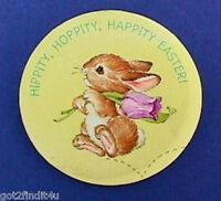 Hallmark BUTTON PIN Easter Vintage BUNNY RABBIT Hippity HOPPITY HAPPITY Holiday