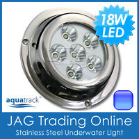 18W (6*3W) BLUE LED 316 Marine Stainless Underwater Boat Fishing Squid Light SS