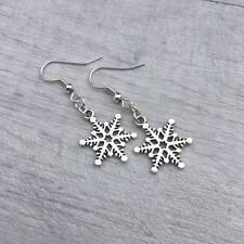 Simple Snowflake Earrings, Silver Christmas Earrings, Stocking Filler Gift